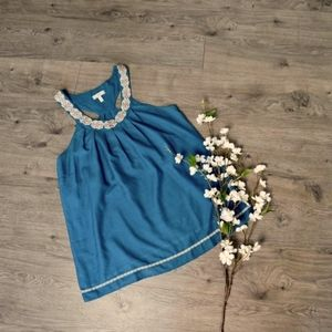 JOIE ~ Large Embroidered Racer Back Top Tank Teal